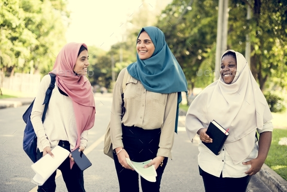 Group of Muslim women having a great time - Stock Photo - Images