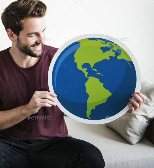 White man holding globe icon - Stock Photo - Images