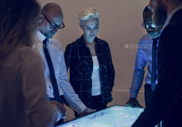 People in a technology meeting with cyber space table - Stock Photo - Images