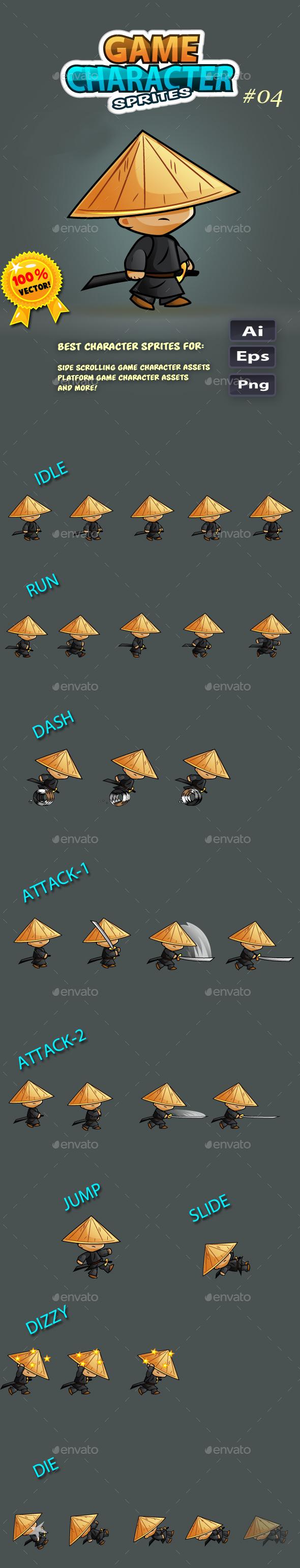 Samurai Character Sprites O4 - Sprites Game Assets