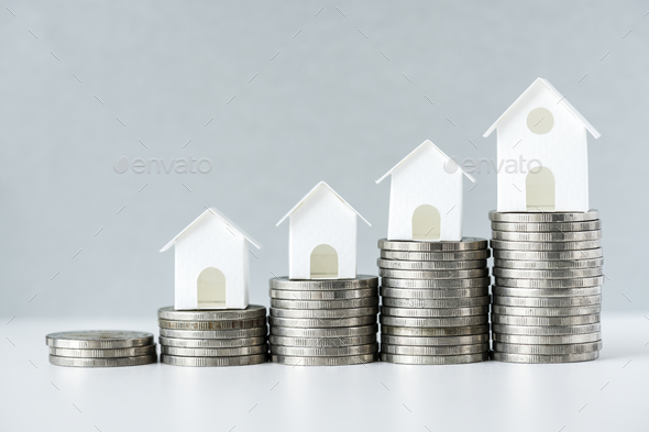 Macro shot of increase in mortgage rate concept - Stock Photo - Images