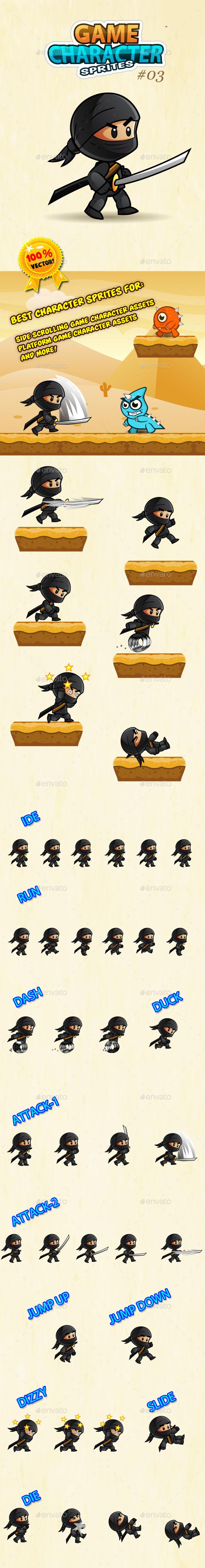 Ninja Character Sprites 03 - Sprites Game Assets