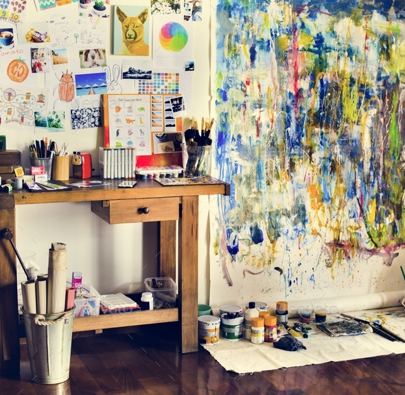 Artist artworks in the workplace hobby pastime - Stock Photo - Images