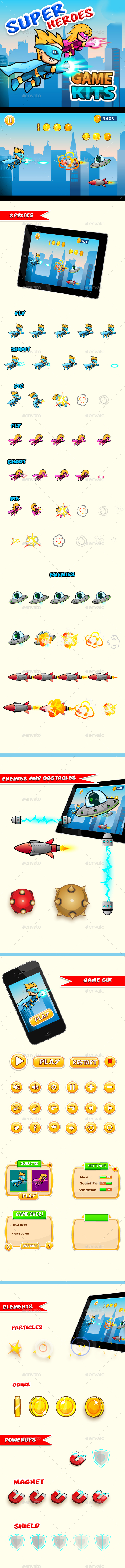 Super Heroes Side Scrolling Game Assets - Game Kits Game Assets