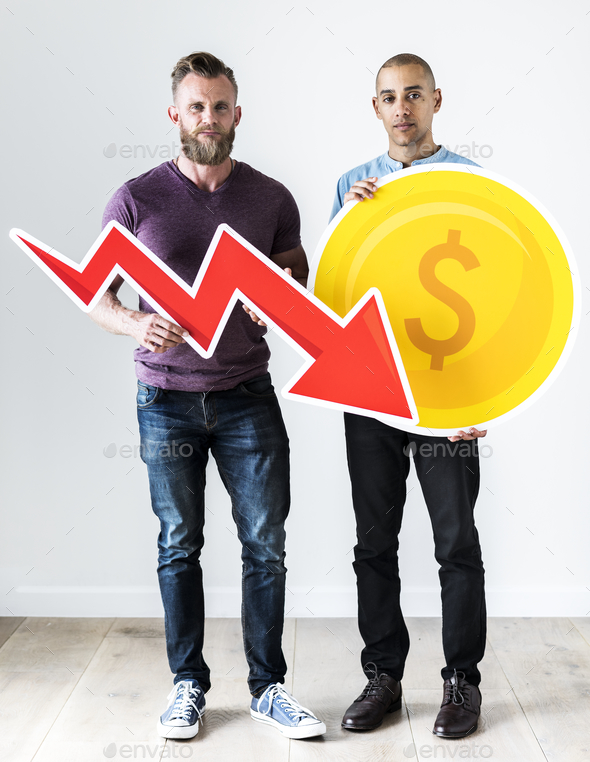 Two casual man holding business icon - Stock Photo - Images
