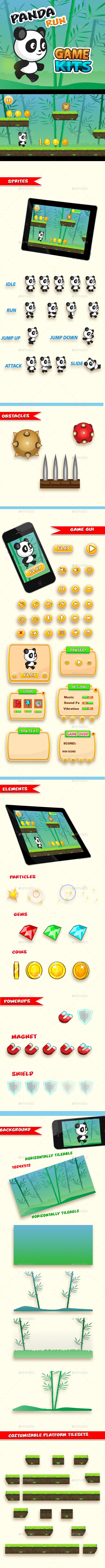 Panda Run  Platformer Game Kit - Game Kits Game Assets