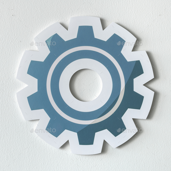 Paper craft of cog wheel icon - Stock Photo - Images