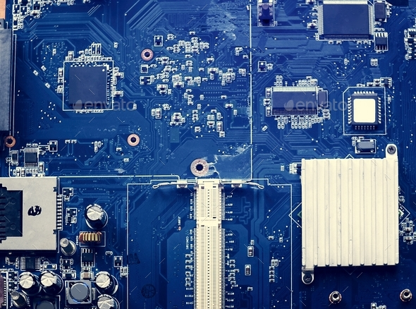 Closeup of blue circuit board - Stock Photo - Images