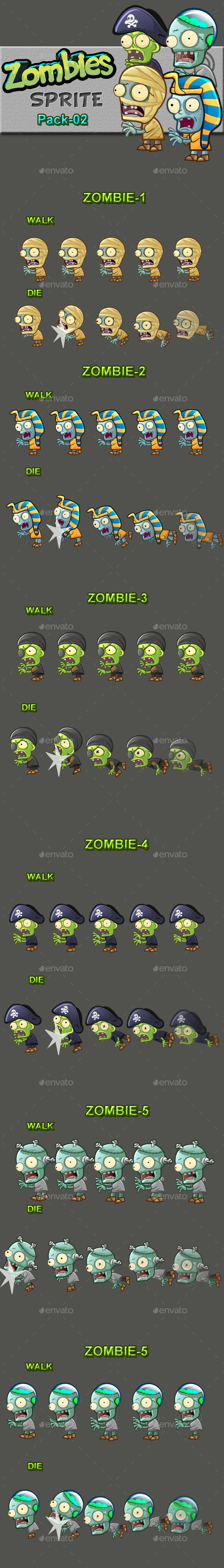 Zombies Sprite Sheets Pack-02 - Sprites Game Assets