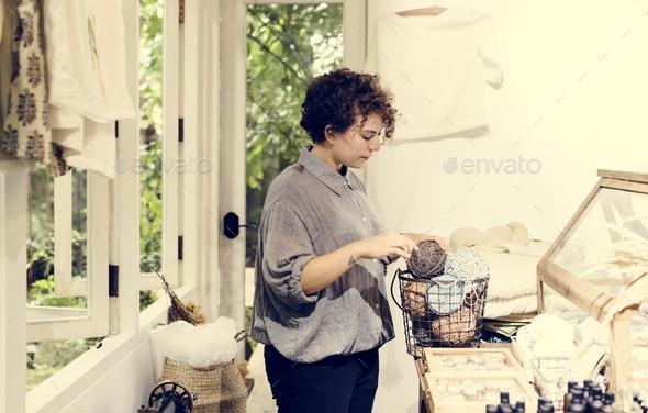 An entrepreneur woman in a clothe shop - Stock Photo - Images