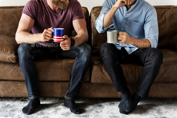 White man talking together - Stock Photo - Images