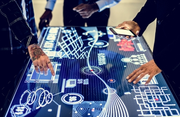Technology meeting at cyber space table - Stock Photo - Images