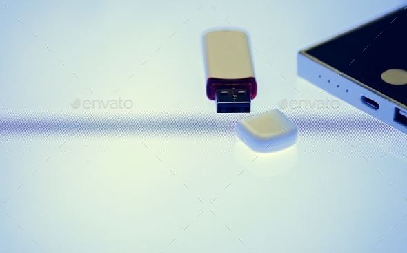 Universal Serial Bus portable data backup - Stock Photo - Images