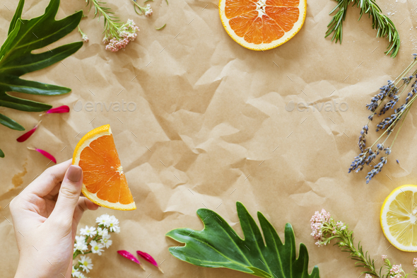 Healthy tasty summer fruits on brown paper - Stock Photo - Images