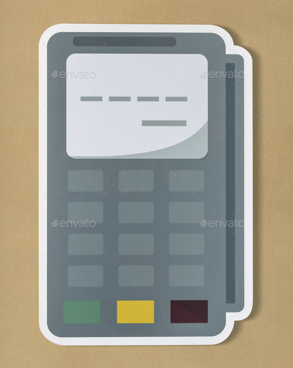 Credit card terminal cut out icon - Stock Photo - Images
