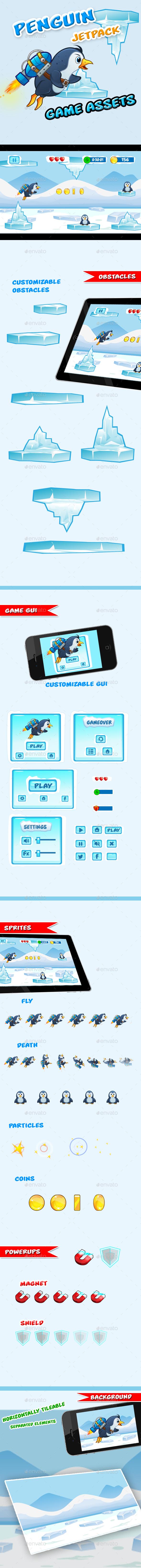 Jetpack Penguin Game Assets - Game Kits Game Assets