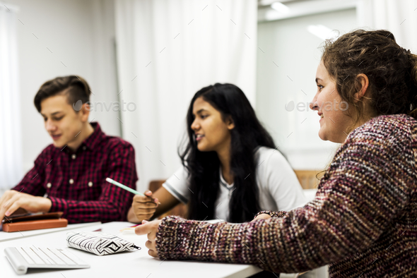 Study group project brainstorming with classmates - Stock Photo - Images