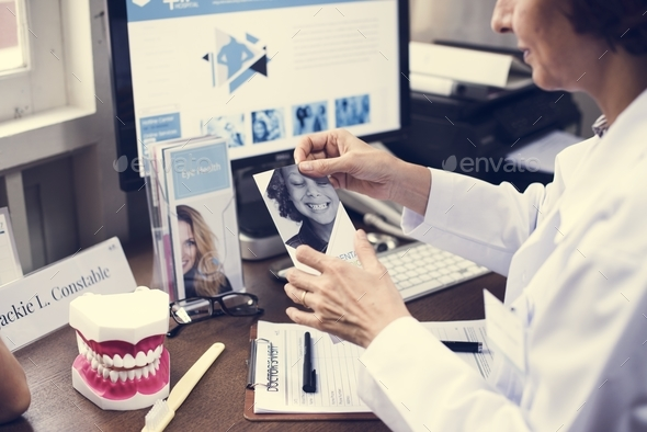 Dental jaw model at dentist clinic - Stock Photo - Images