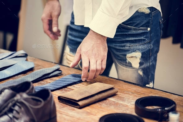 Man choosing neckties - Stock Photo - Images
