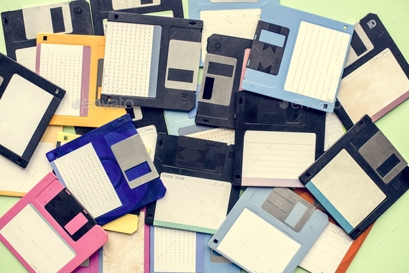Old school floppy disk drive data storage - Stock Photo - Images