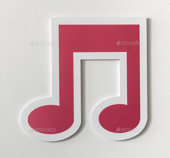 Music note audio cut out icon - Stock Photo - Images