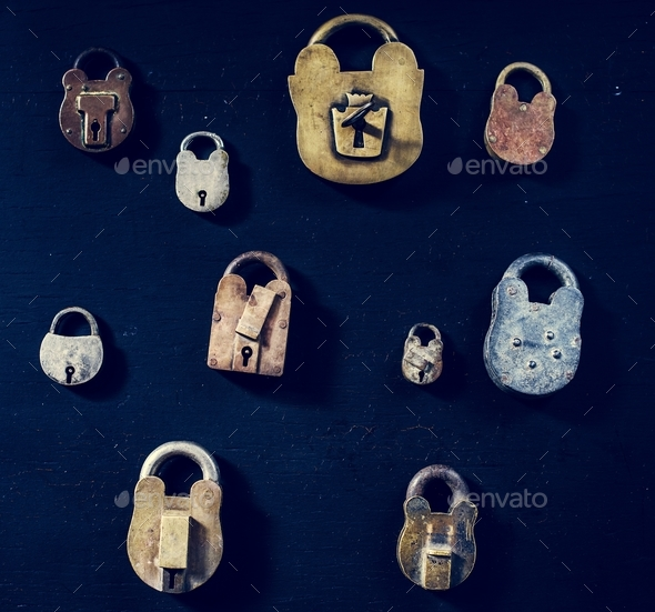 Padlocks on black background - Stock Photo - Images