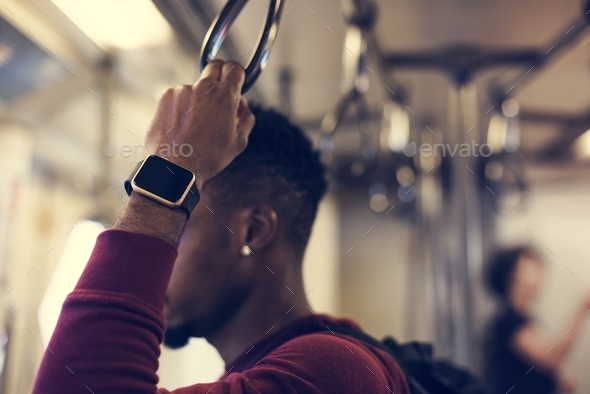 African man on a train - Stock Photo - Images