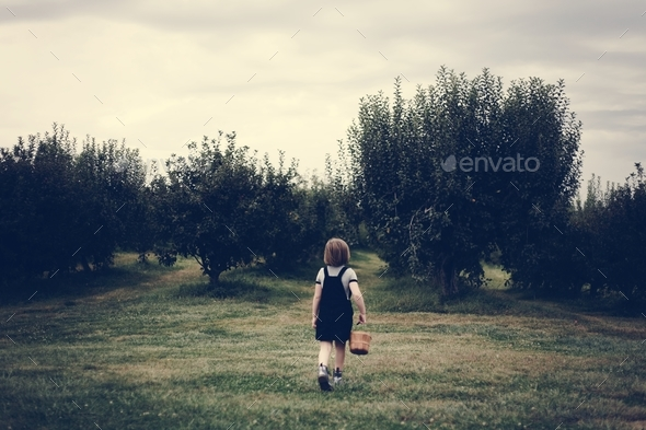 Little girl playing in a farm - Stock Photo - Images