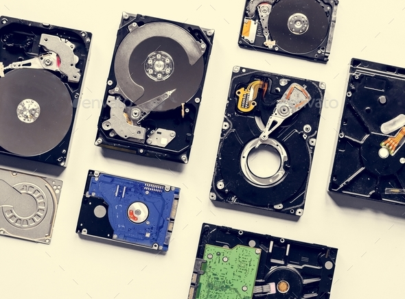 Closeup of computer hard disk drive - Stock Photo - Images