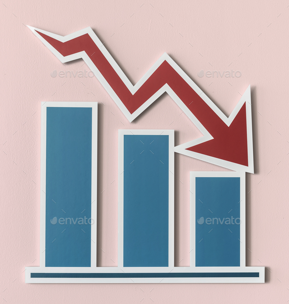 Declining business report bar chart - Stock Photo - Images