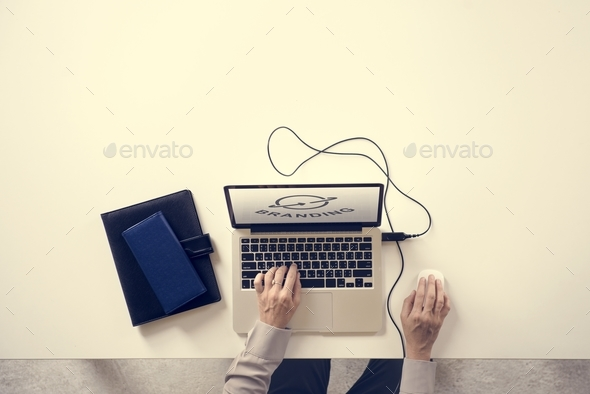 Branding concept on a laptop screen - Stock Photo - Images