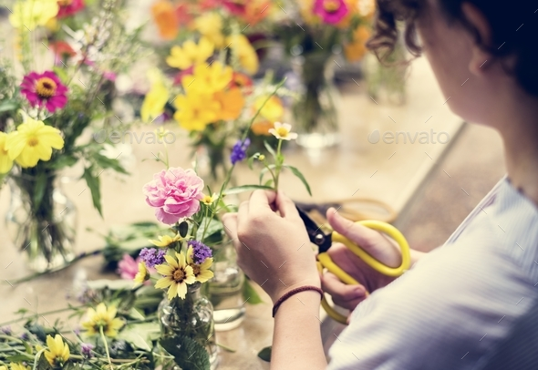 Woman preparing and arranging flowers - Stock Photo - Images
