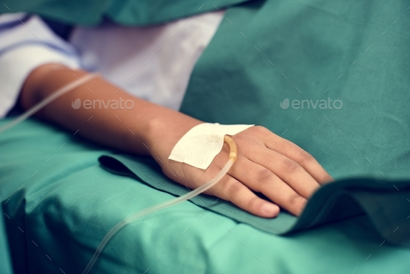 Closeup of hand with IV tube - Stock Photo - Images