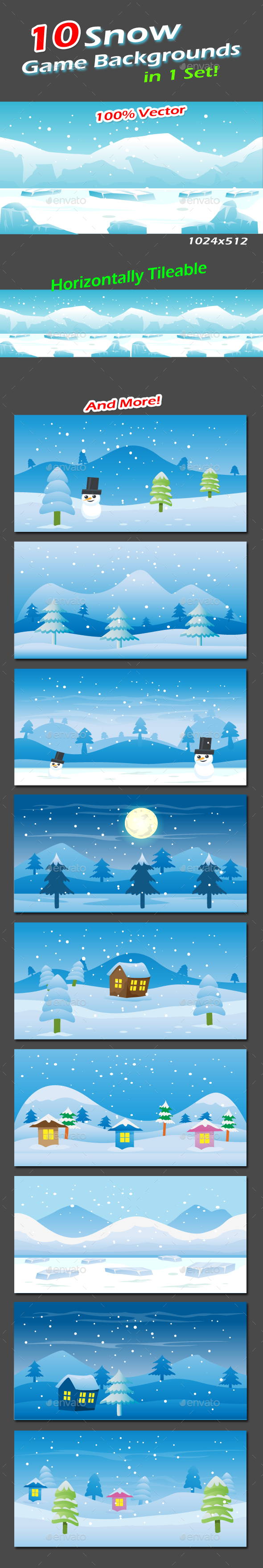 Snow Game Backgrounds Pack - Backgrounds Game Assets