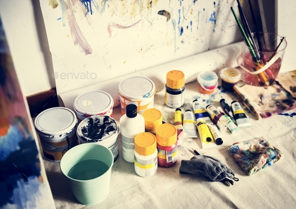 Art paint colors equipment hobby leisure - Stock Photo - Images