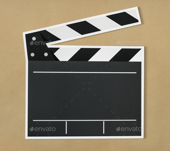 Black and white clapper board icon - Stock Photo - Images