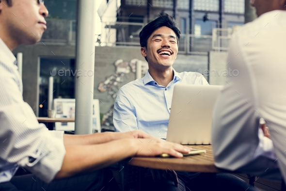 Business team people discussion at coffee shop - Stock Photo - Images