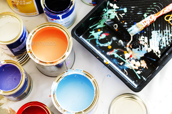 Closeup of house painting renovation - Stock Photo - Images