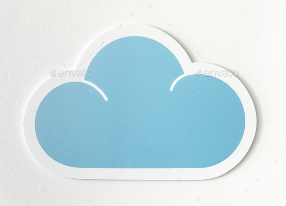 Blue cloud cut out icon - Stock Photo - Images