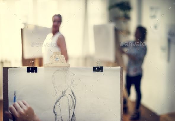 People drawing from human model - Stock Photo - Images