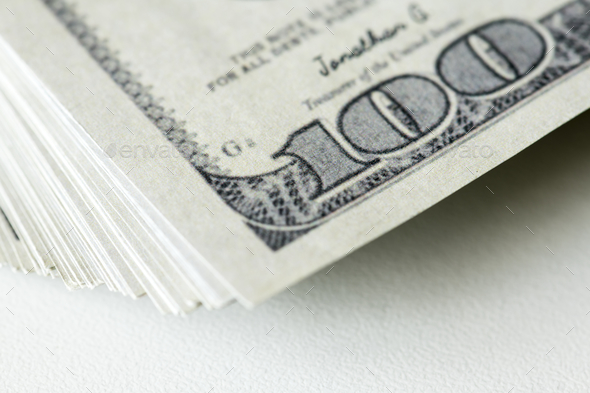 Closeup of hundred dollar bills - Stock Photo - Images