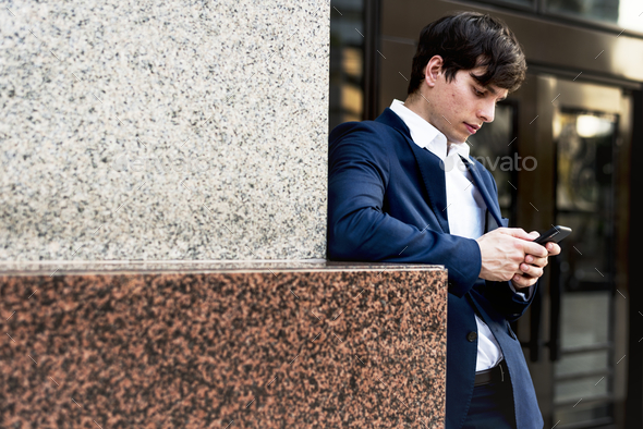 Businessman communicate on the phone - Stock Photo - Images