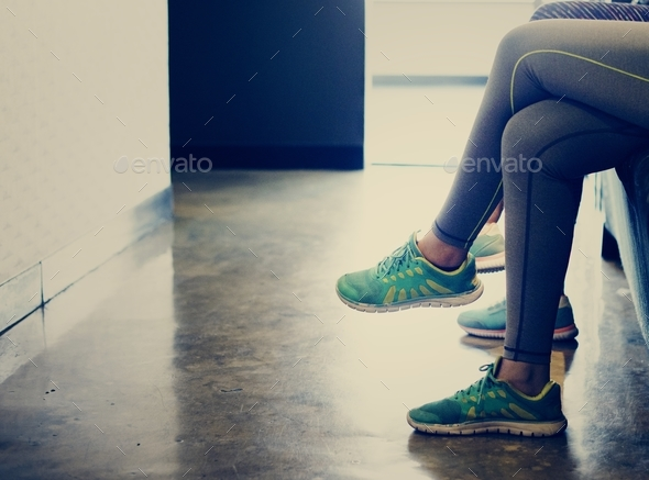 Women waiting at the fitness - Stock Photo - Images