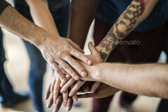 People joined hand together - Stock Photo - Images