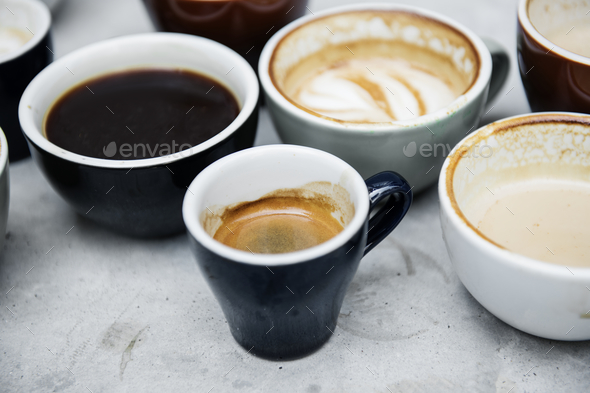 Closeup of various hot coffee - Stock Photo - Images