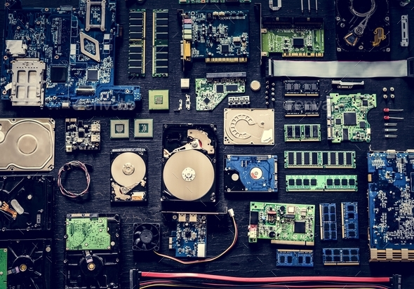 Computer hardware parts flat lay - Stock Photo - Images