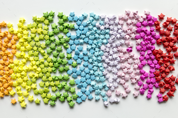 Colorful origami stars background - Stock Photo - Images
