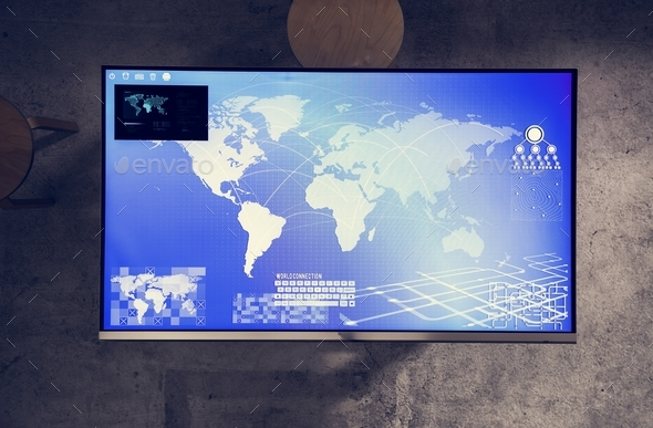 Cyber space table with a world map on screen - Stock Photo - Images