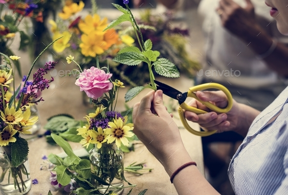 Woman arranging some flowers - Stock Photo - Images