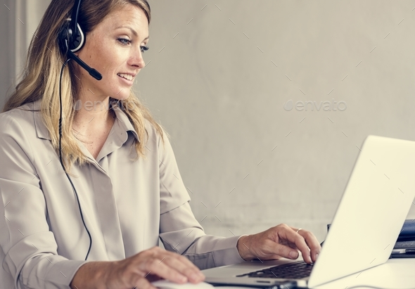 Caucasian call center woman help desk service - Stock Photo - Images